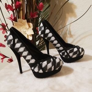 Shiekh Black and White High Heels